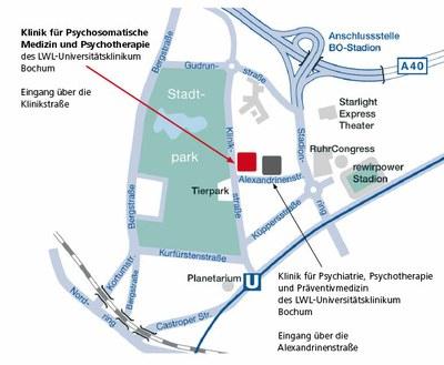 Lageplan LWL-Klinik Bochum